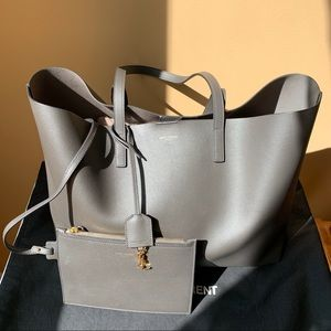 Saint Laurent Calfskin Large Shopping Tote in Grey